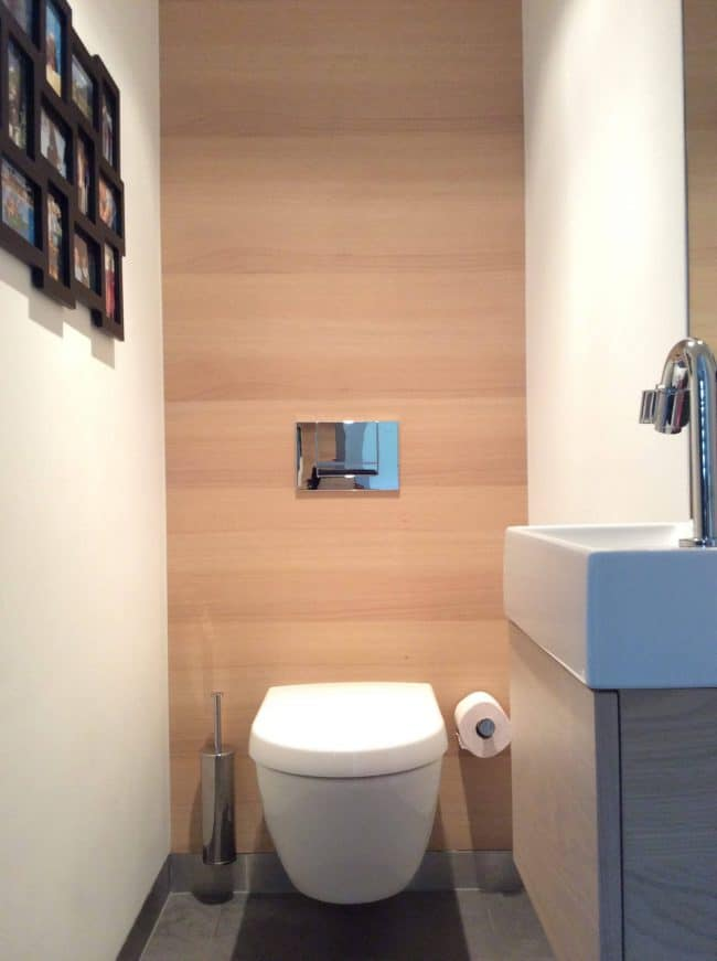 Achterwand toilet in gelakt hout